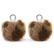 Pompom bedels met oog  faux fur leopard 12mm Chocolate brown-silver