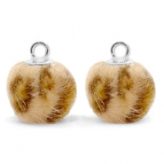 Pompom bedels met oog  faux fur leopard 12mm Camel brown-silver