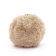 Pompom bedels met oog faux fur 3.5cm Naturel brown