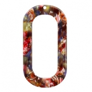 Resin hangers langwerpig ovaal 56x30mm Mixed red-yellow