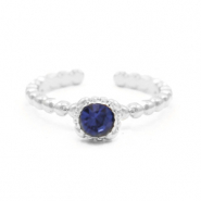 Musthave ringen dots with one stone Zilver-donker blauw (nikkelvrij)