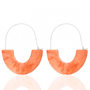 Trendy oorbellen resin Living coral red-silver