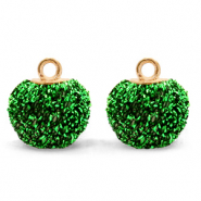 Pompom bedels met oog glitter 12mm Irish green-gold