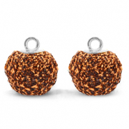 Pompom bedels met oog glitter 12mm Rust brown-silver
