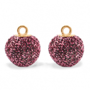 Pompom bedels met oog glitter 12mm Hawthorn rose-gold