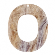 Resin hangers ovaal 48x40mm Suger almond taupe
