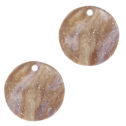 Resin hangers rond 12mm Suger almond taupe