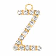 Basic quality metalen bedels strass initial Z Goud