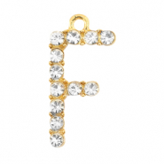 Basic quality metalen bedels strass initial F Goud