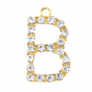 Basic quality metalen bedels strass initial B Goud