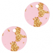 Resin hangers rond 12mm Pink gold-transparant
