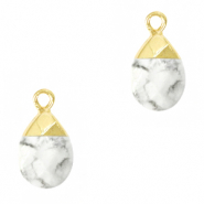 Natuursteen hangers White marble-gold