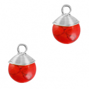 Natuursteen hangers wire wrapped Red marble-silver