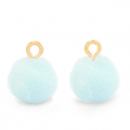 Pompom bedels met oog 10mm Gold-Pastel blue