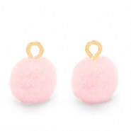 Pompom bedels met oog 10mm Gold-Soft pink