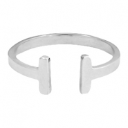 Stainless steel ring double bar 19mm Zilver