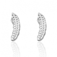Trendy oorbellen studs feather Silver